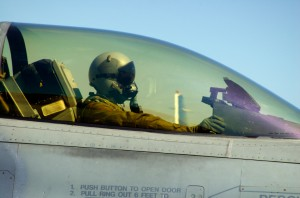 Stock Image of Fighter Pilot and Aircraft Canopy