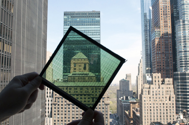 New York City skyscrapers as seen through high-performance SolarWindow™ module.