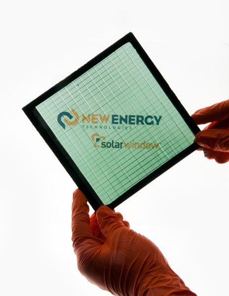 High-performance SolarWindow™ module in neutral green-blue tint.